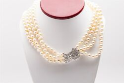 Vintage 1940s 12000 3ct Diamond Vs G 4 Strand 7.5mm Cultured Pearl Necklace