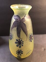 Antique French Glass Vase Signed Legras/ Art Deco/ France C. 1920/ Cameo/ Green