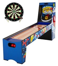 87 Roll And Score Wood Skee Ball Arcade Game Table + Dart Board