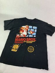 NINTENDO SUPER MARIO BROS. VINTAGE COVER 80s MEN#x27;S BLACK T SHIRT SIZE S S