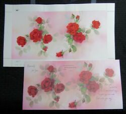 Valentines Day Large 3-panel Red Roses 17x10 Greeting Card Art V5004 W/ 1 Card