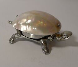 Rare Tortoise Mechanical Desk Bell With Mother Of Pearl Shell