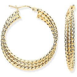9ct Yellow Gold Large Triple Layer Ribbed Hoop Earrings