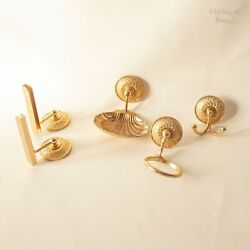 French Vintage Gold Coloured Bathroom Fixture Accessories 4 Piece Set