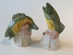 Vintage Ceramic Salt And Pepper Shakers Fish Trout Bass Perch Salmon Carp