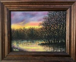 At The Bend In The River - Original Framed Oil Painting On 6 X 8 Inch Canvas