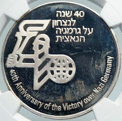 1988 Israel Victory Over Wwii Germany 40th Anniv Vintage Silver Medal Ngc I87953