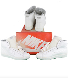 Nos Vtg 80s Nike 1985 Racquette S High Perforated Leather High Top Shoes Mens 10