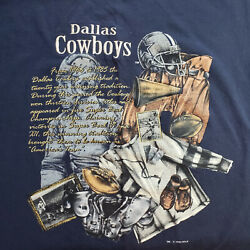 Vintage 90s Dallas Cowboys T Shirt Nutmeg Mills Throwback Embroidered Mens Large