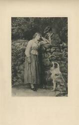 ANTIQUE VICTORIAN GIRL COLLIE DOG GENTLEMAN COBBLESTONE WALL TREES ETCHING PRINT