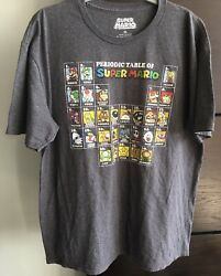 Nintendo Super Mario Periodic Table T-shirt - Gray - Size Xl - Gently Used