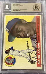 Hank Aaron Signed 1955 Topps 47 -2nd Year Braves Hof🔥sgc And Beckett Authentic🔥