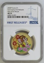 2020 Tuvalu Silver 1 - Tom And Jerry - Year Of The Mouse - Ms70 Fr - Ngc Coin