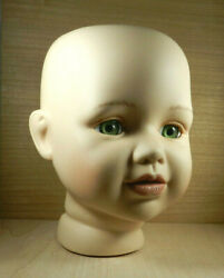Bisque Porcelain Doll Head With Hazel Eyes Overall Size 4 1/2 Tall