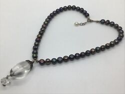Tahitian Peacock Pearl Faceted Crystal Drop Sterling Silver Necklace 18andrdquo