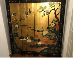 Antique/ Asian, Oriental Vintage Four Panel Wood Lacquer Room Divider Screen