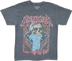 Men#x27;s Metallica 1988 One Vampire Skull Throwback Grey Vintage Retro T Shirt Tee