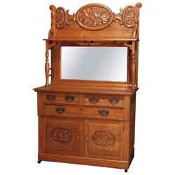 Antique Victorian Carved Oak Mirrored Sideboard, Circa 1890