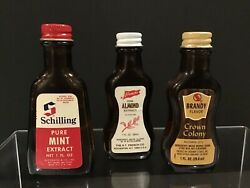 Vtg Lot Of 3 Extract Bottles Schilling French's Safeway Mint Almond Brandy Prop