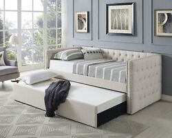 Beige Tufted Linen Like Fabric Upholstered Twin Size Day Bed With Trundle