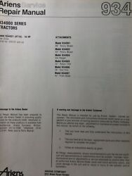 Ariens Ht16 934001 Gear Drive Lawn Garden Tractor And Implements Service Manual Hp