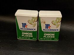 Lot Of 2 Vintage Mccormick Onion Flakes Spice Tin Litho Graphic No Dents Nos