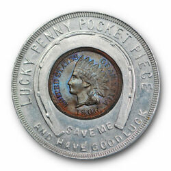 1906 Indian Head Cent Uncirculated Ms Good Luck Token Lucky Toned Rp188