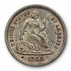1868 S Seated Liberty Half Dime About Uncirculated To Mint State Us Coin 9767