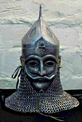 16 Gauge Steel Medieval Knight Mask Ottoman Empire Helmet With Chainmail Costume