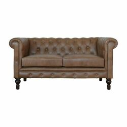 Brown Leather Double Seater Chesterfield Sofa