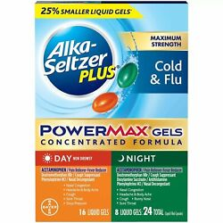 Alka-seltzer Plus Day And Night Cold And Flu Relief Powermax Gels | 24 Ct | 12 Pack