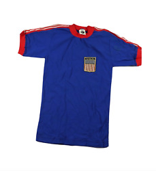 Deadstock Vintage 90s Youth Xl Usa World Cup Soccer Jersey Spell Out Patch Blue
