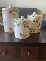 """Sur La Table Woodland Canister Set With Lid 5"""", 7"""" And 9"""" Ceramic"""
