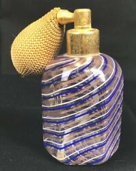 Vintage Cobalt/gold Striped Murano Glass Perfume Bottle Atomizer With Pump