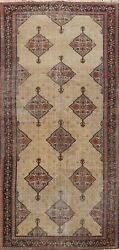 Antique Pre-1900 Bibiak Abad Vegetable Dye Distressed Area Rug Hand-knotted 6x12
