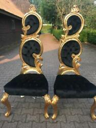 New Italian Baroque Black Velvet And Gold Leaf Finish Chairs- A Pair