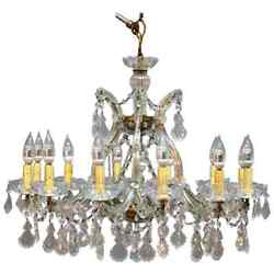 Vintage French Brass And Cut Crystal Chandelier, 20th Century
