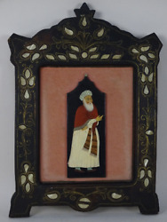 Picture Indian Miniature Moghul Mughal Frame Inlay Mother Of Pearl India Liberty