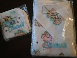 Carter's Hooded Towel And Washcloths Cotton Terry Vintage Teddy Bear Pink Blue New