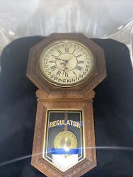 E.n. Welch Star Pointer Calendar School House Clock 1890andrsquos Serviced And Working