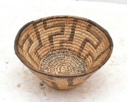 Vintage Rare Pima Amer Indian Hand Woven Geometric Coiled Woven Basket Papago