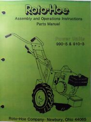 Roto-hoe Co. 990-5 910-3 Walk-behind Tractor Power Units Owner And Parts Manual