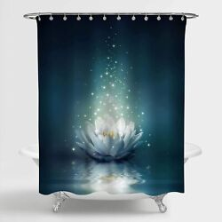 Mitovilla Magic Lotus Floral Shower Curtain Glowing Waterlily Floral Floating O