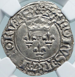 1380ad France King Charles Vi Antique Silver Old Gros Medieval Coin Ngc I88111