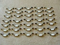 Lot Of 35 Vintage Porcelain And Brass Tone 5 Drawer Pulls And Knobs W Screws