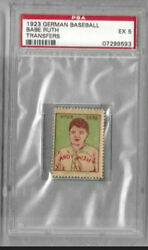 Babe Ruth 1923 German Transfers -extremely Rare-98 Years Old🔥psa 5 Ex Excellent