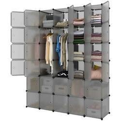 Stackable Cube Storage DIY Plastic Modular Closet Cabinet Storage Organizer Rack