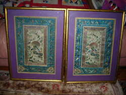 Sale Exquisite Pair Of Antique Chinese Silk Textiles, Embroideries, Tapestries