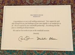 Obama White House 60th Wedding Anniversary Card Signed Pres Barack Michelle