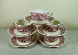 5 Royal Usa Memory Lane Pink Red Cups And Saucers Set Acorn And Leaves Ironstone